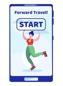 Mujer patinando sobre rodillos en tableta con pantalla táctil