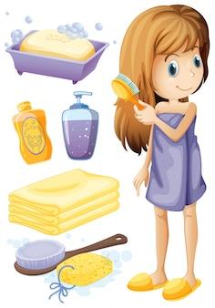 Mujer peinando pelo y conjunto de baño ilustración