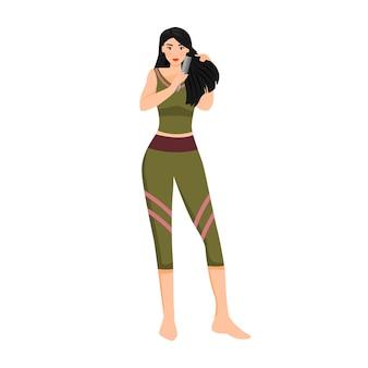 Mujer peinándose carácter sin rostro color plano. chica cepillando el pelo largo sano aislado ilustración de dibujos animados para diseño gráfico web y animación. rutina diaria de cuidado del cabello femenino