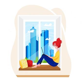 Mujer pelirroja sentada alféizar de la ventana con dispositivo portátil, lugar de trabajo remoto moderno, lugar de trabajo de trabajo independiente femenino aislado en blanco, ilustración de dibujos animados.