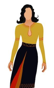 Mujer de pelo negro sin rostro vestida con vestido nacional de color amarillo, negro y rojo