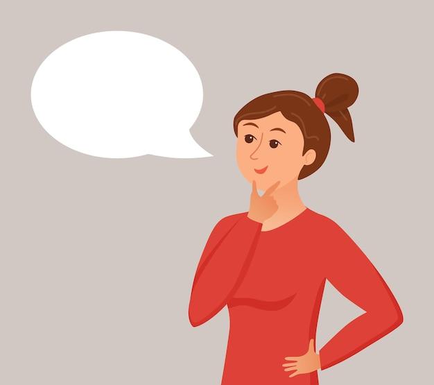 Mujer de pensamiento con burbujas de discurso