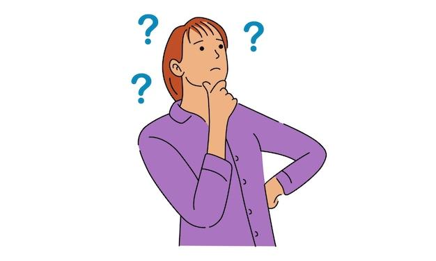 Mujer de pensamiento con signos de interrogación