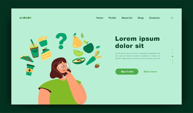 Mujer pensando en plantilla de página de destino de elección de bocadillos saludables y no saludables