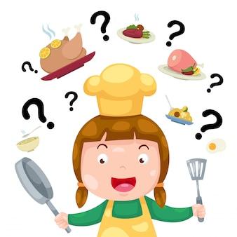 Mujer pensando qué cocinar vector