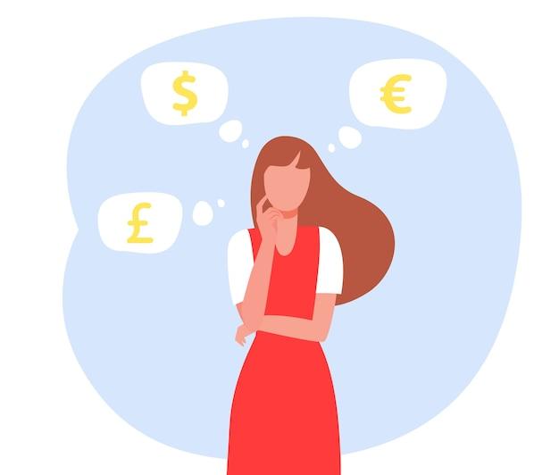 Mujer pensando en el tipo de cambio.