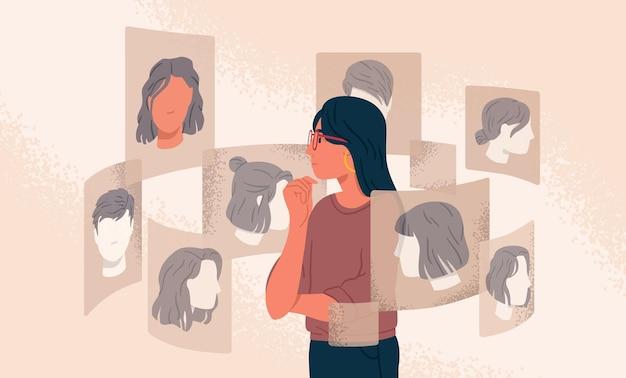 Mujer pensativa mirando diferente ilustración de peinado de varias opciones