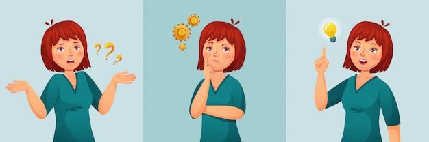 Mujer pensativa pensamiento femenino hacer preguntas, pensamiento confuso o duda y pregunta encontrada ilustración de dibujos animados de respuesta