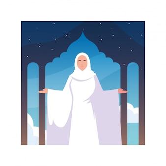 Mujer peregrina hajj de pie, día de dhul hijjah