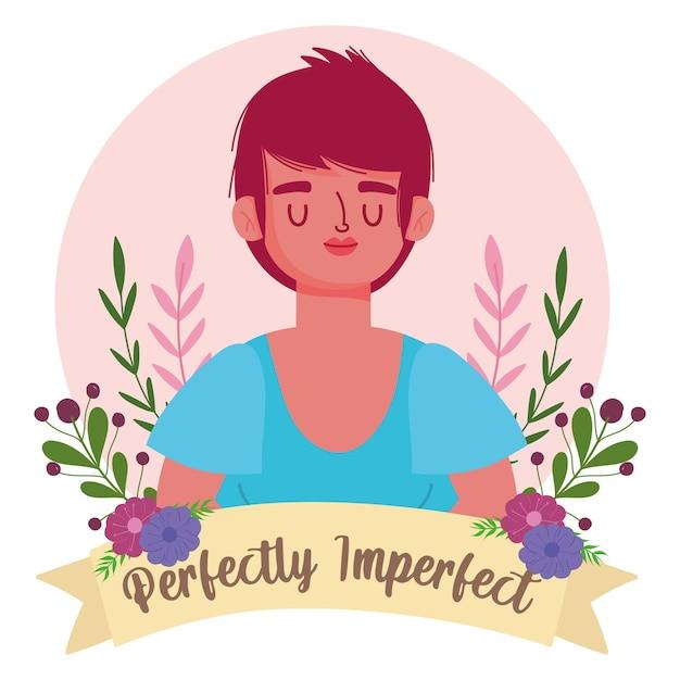 Mujer perfectamente imperfecta con pelo corto elegante, flores ilustración de personaje de dibujos animados