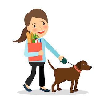 Mujer con perro y bolsa de comida.