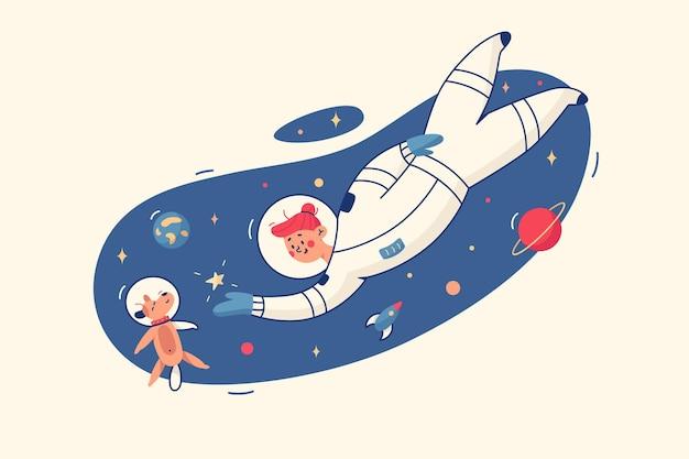 Mujer y perro en la ilustración del espacio