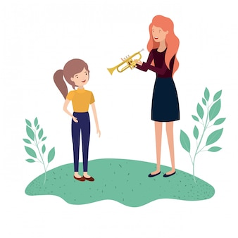 Mujer con personaje de hija y trompeta avatar.