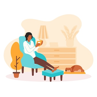 Mujer personaje leyendo y relajándose en casa
