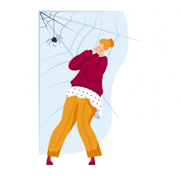 Mujer personaje miedo araña, persona fobia común terror spinner aislado en blanco