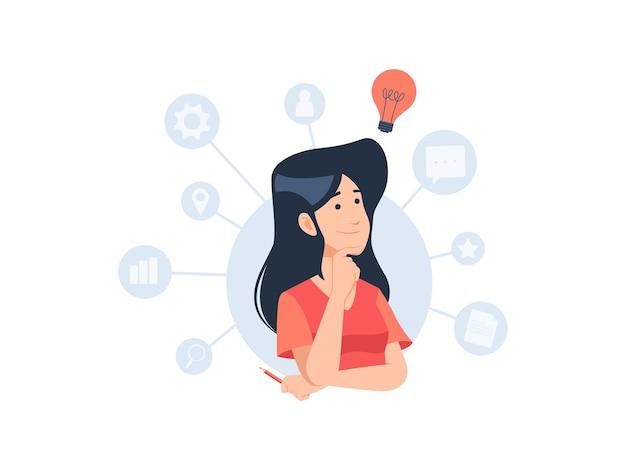 Mujer personaje pensamiento creativo una idea concepto ilustración en diseño plano
