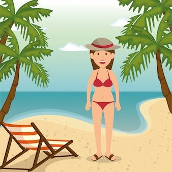 Mujer en el personaje de playa