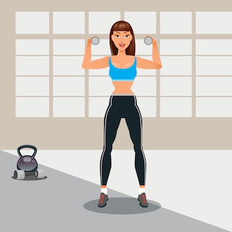 Mujer con pesas. mujer de gimnasio. estilo de vida saludable. ilustración vectorial
