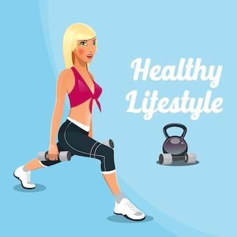 Mujer con pesas. mujer de gimnasio. estilo de vida saludable.