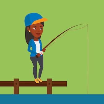 Mujer de pesca en el embarcadero ilustración vectorial.