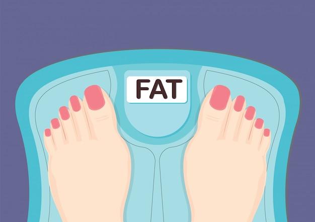 Mujer de pie en la escala de medición con palabra grasa.