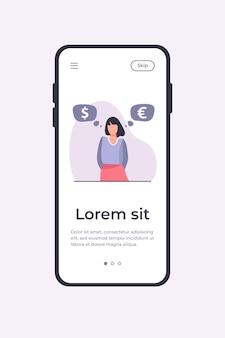 Mujer de pie y pensando en el tipo de cambio. euro, dólar, efectivo ilustración vectorial plana. plantilla de aplicación móvil de concepto de finanzas e inversión