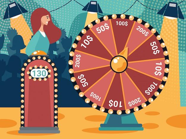 Mujer de pie en tribune spinning fortune wheel