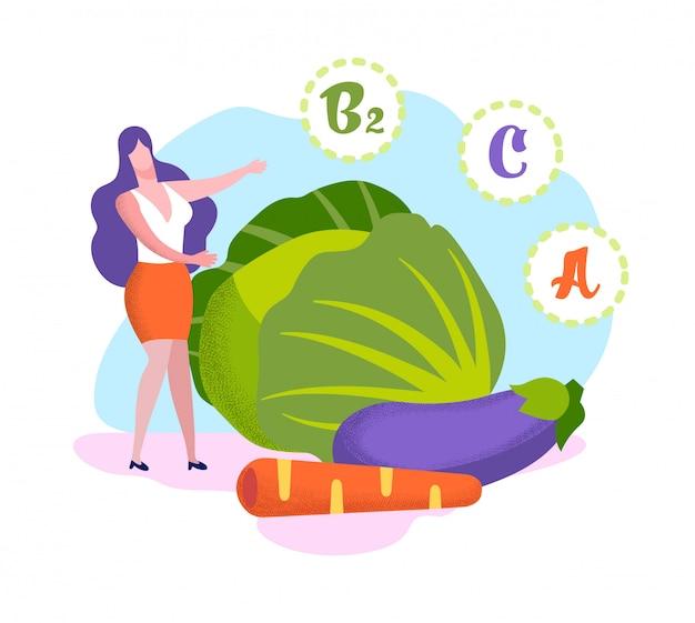 Mujer de pie en las verduras enormes vitaminas en el producto