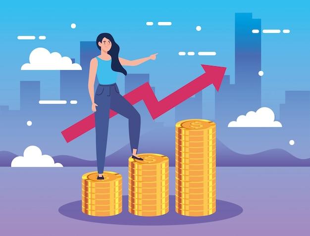 Mujer en pilas de monedas con flecha arriba infografía