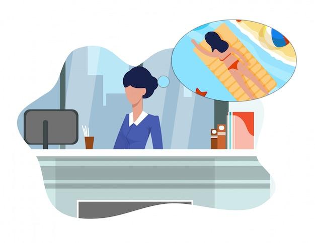 Mujer plana sueña con vacaciones sentado en el trabajo.