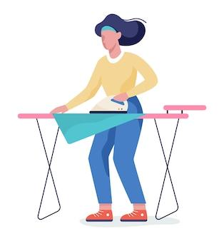Mujer plancha ropa en tabla de planchar. idea de trabajo doméstico y lavandería. concepto de tareas domésticas. ilustración