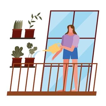 Mujer con plantas y regadera en casa diseño de ventana de tema de actividad y ocio.