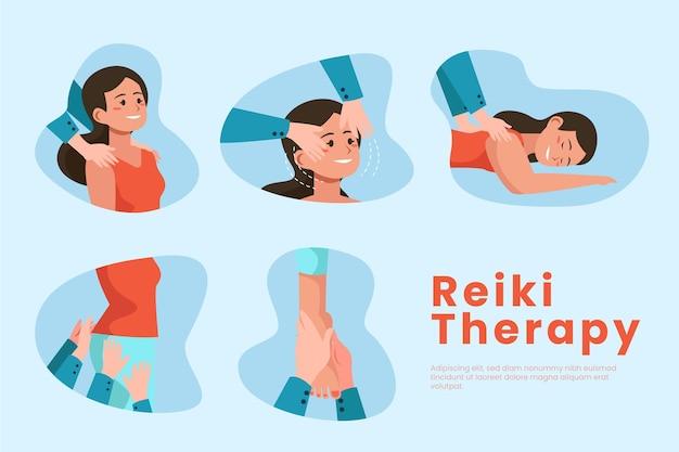 Mujer en plantilla de terapia de reiki