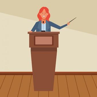Mujer en un podio