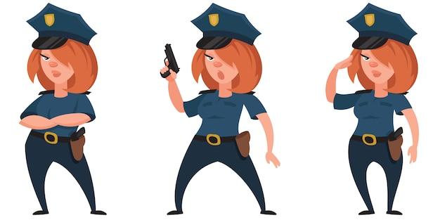 Mujer policía en diferentes poses. hermoso personaje en estilo de dibujos animados.
