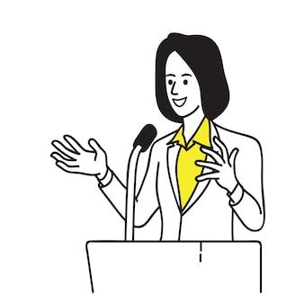 Mujer política en el podio