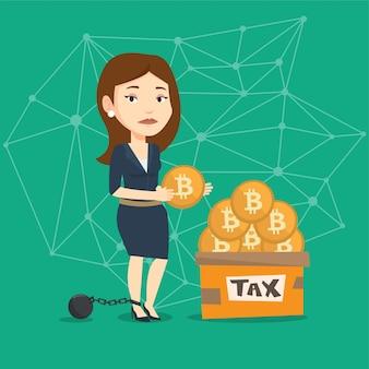 Mujer poniendo monedas bitcoin en caja para impuestos.