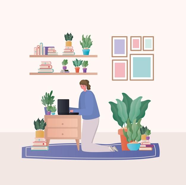 Mujer con portátil trabajando en el diseño de alfombras de trabajo desde casa tema