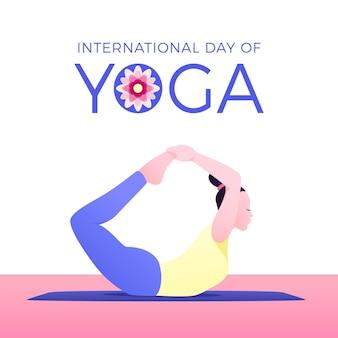 Mujer en posición de yoga día internacional