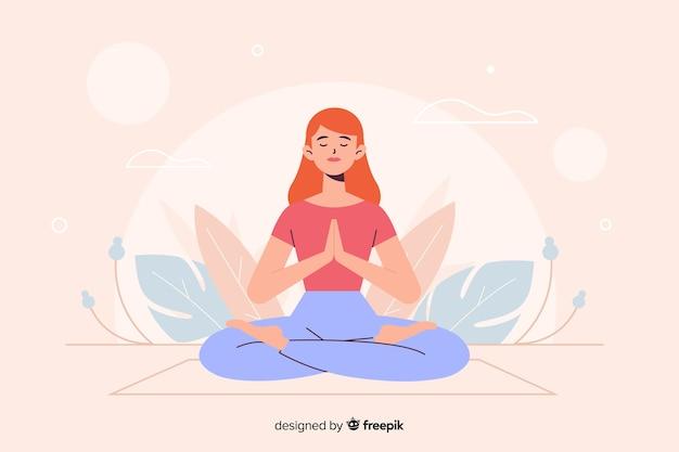Mujer en posición de yoga para landing page
