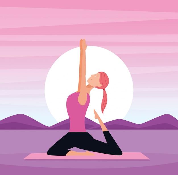 Mujer en posturas de yoga