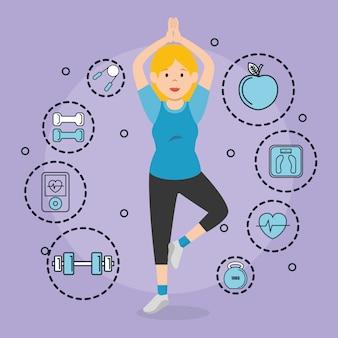 Mujer practicando ejercicio con iconos de deportes