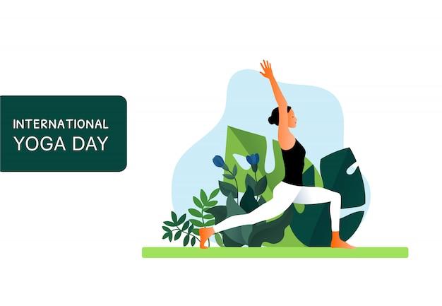 Mujer practicando ejercicio de yoga, pose de yoga. piso moderno de página web o sitio web móvil. día internacional del yoga. ilustración
