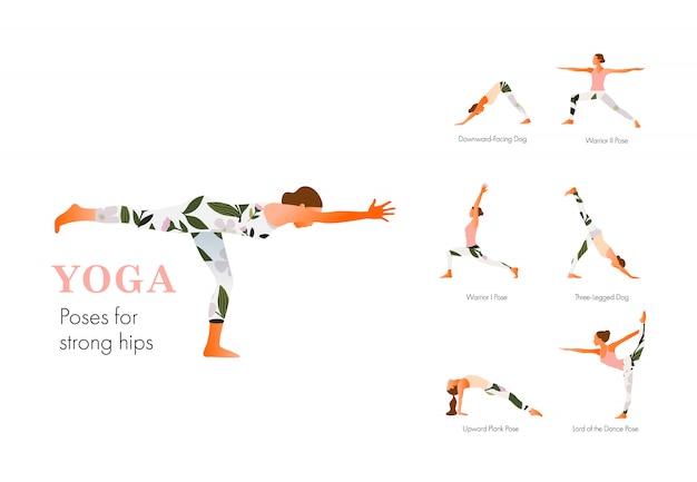 Mujer practicando ejercicio de yoga, posturas de yoga para caderas fuertes. piso moderno de página web o sitio web móvil. día internacional del yoga. ilustración