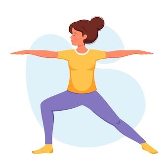 Mujer practicando yoga estilo de vida saludable relajarse meditación Vector Premium