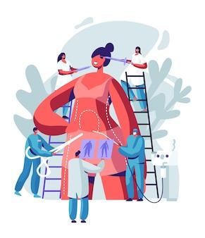 Mujer preparándose para cirugía plástica. personajes de doctor dibujando líneas en el cuerpo y poniendo inyecciones en la cara, procedimiento de liposucción y cosméticos.