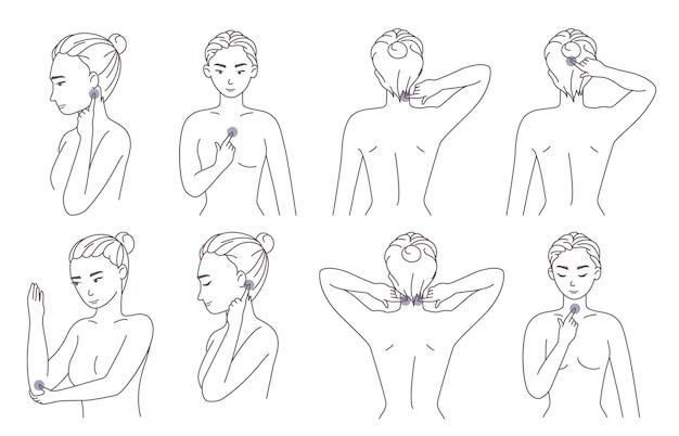 Mujer presionando puntos de acupresión en el cuello, el codo, la cabeza, el pecho para aliviar el dolor y la tensión muscular, ilustración vectorial.