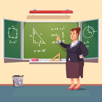 Mujer del profesor que da una conferencia de la trigonometría