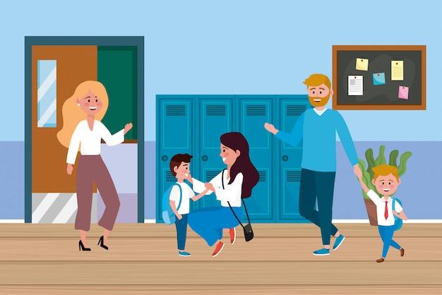 Mujer profesora con alumnos y madre con padre.