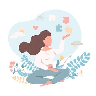 Mujer psicológicamente sana en estilo plano
